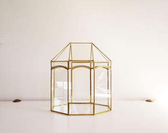 Great showcase or greenhouse glass and brass vintage