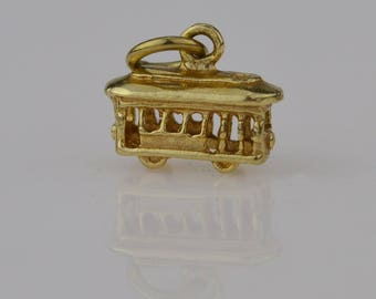 14k Yellow Gold Estate Trolley Car Pendant/charm(01728)