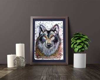 "Wolf - Giclée print of original painting - 7x5"" wall art, wildlife art, signed premium quality print"