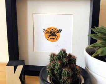 Bee Linoprint