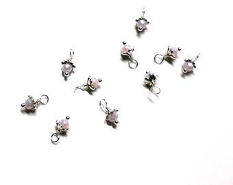 10PC. Ballet Slippers Multi Faceted AB Austrian Crystal Bead Dangle Charm/Handmade Shiny Silver Tone Plated Bead Dangle Charms