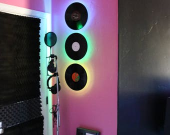 """Vinyl Record Wall Light (Standard 12"""" Up-Cycled Black Record) """"HOLIDAY SPECIAL"""""""