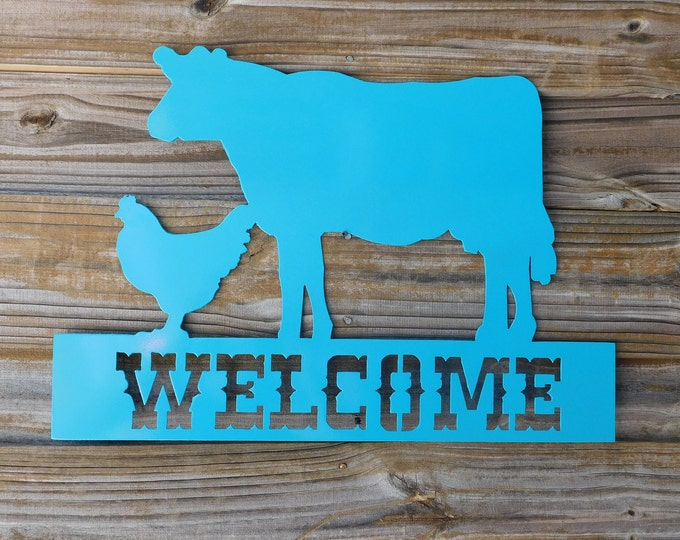 Farm Welcome Sign, Metal Farm Sign, Ranch Sign, Cow Welcome Sign, Cattle Sign, Cow Farmhouse Decor, Gift for Farmer, Gifts for Him