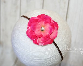 Shocking Pink & Brown Flower Headband, Baby Headband, Newborn Headband, Baby Girl Headband, Baby Hair Accessories, Infant Headband, Baby Bow