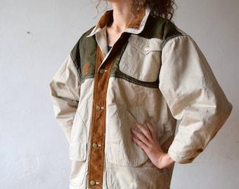 Beige vintage jacket, men's spring jacket, bomber jacket, minimalist jacket, brown winter coat, S/M