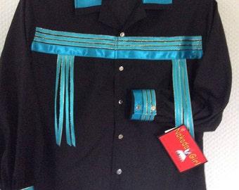 Native American Regalia *Nakoda Made* Pow Wow BLACK Ribbon Shirt © Size 12