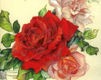 4 x single paper napkins , ROSES WREATH, Vintage Roses, perfect for decoupage Craft Decopatch Scrapbooking, 33 x 33 cm , 3 ply, lunch napkin