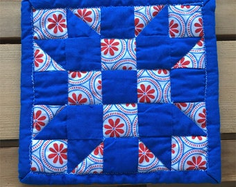"""Ahoy Red-White-Blue Quilted Mug Rug 5"""""""