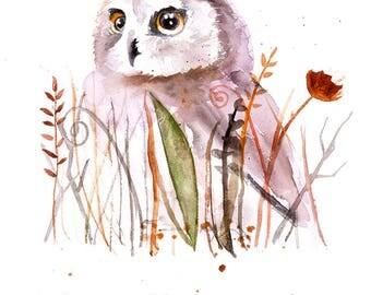 Nursery Animal art baby owl watercolor wall art print poster watercolor painting illustration children room decor kids nursery owl wall art