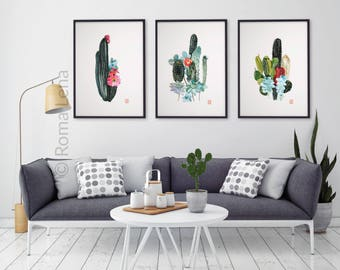 living room art prints. Set of 3 art prints CACTUS Watercolor painting floral illustration living  room wall decor kitchen WALL Kitchen Etsy