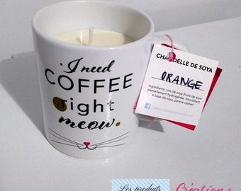 "Mug + ""I need coffee right meow"" Soy Candle, coffee cup, original gift for lovers of coffee and cats, ready to ship"