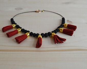 Red tassel boho necklace