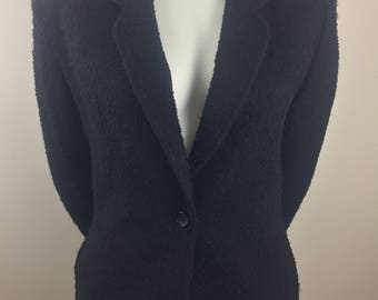 Vintage Koret Black Textured Wool Blazer/Size 16