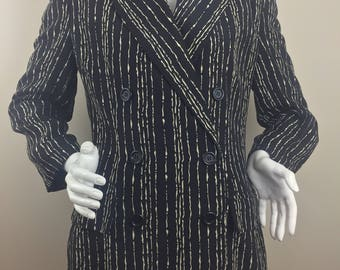 Vintage Linda Allard for Ellen Tracy !00% Silk Double Breasted Jacket with Black and White Print/Size 12