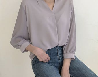 4Colors sleeve shirring blouse - summer blouse