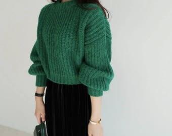 2Colors Knit Sweater for Women Oversized Sweaters for Women/ Knitwear Wool Sweater/ Knit Pullover Warm Sweater/ Knit Top Knitted Sweater