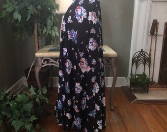 Stretch Half Circle Skirt - Floral Maxi Skirt