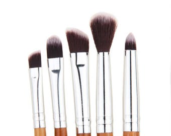 Bamboo MakeUp Brush Set of 5 Personalised Gift Biodegradable Natural Wooden Make Up Brush Wooden cosmetic brush Soft Nylon Bristles makeup