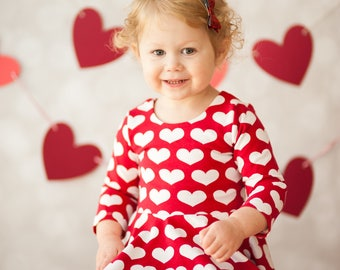 Valentine Dress, Heart Dress, Red And White Dress, Valentine Gift, Toddler  Dress