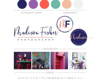 Modern Logo Kit, Photography Branding Package Custom Logo Brand Kit Business Logo and Watermark Minimal Branding Kit Makeup Artist Blog Logo