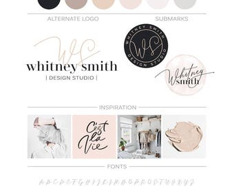 Watercolor Logo Brand Kit, Minimalist Script Logo Blush Branding Package Modern Logo, Premade Logo Design Blog Kit Fashion Boutique Logo