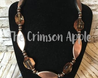 Copper and Brown bead necklace with brown pearls