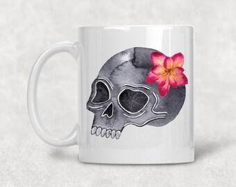 Skull Floral Mug, Skeleton Watercolor Coffee Cup