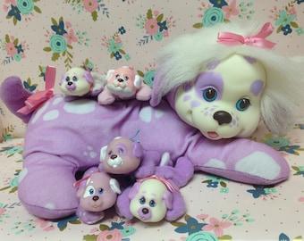 Vintage Hasbro Puppy Surprise ~Purple Dalmatian with 5 puppies!~