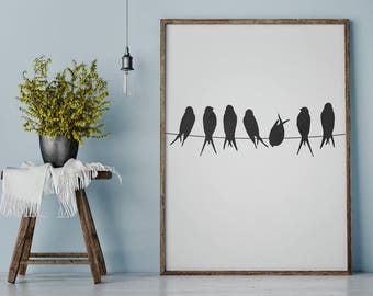 Birds on a Wire Print, Bird Print, Bird Wall Art, Bird Silhouette, Bird Printable