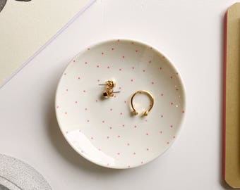 Pink dots ring dish, Ring dish, jewellery dish, trinket dish, birthday gift, gifts for her