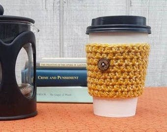 Ski Lodge Mustard Yellow Crochet Cup Sleeve - Tweeds Button Everyday Cup Sleeve in Saffron