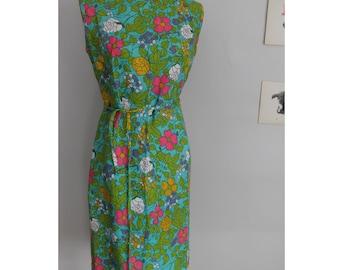 Vintage 60s Bold Neon Floral Print Midi Shift Dress