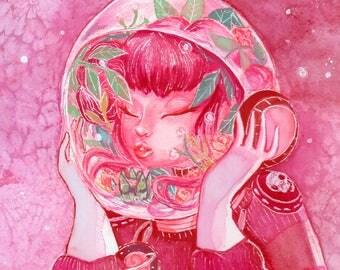 Pink Astronaut Watercolor Print. Helmet Terrarium. Living in Her Own World.