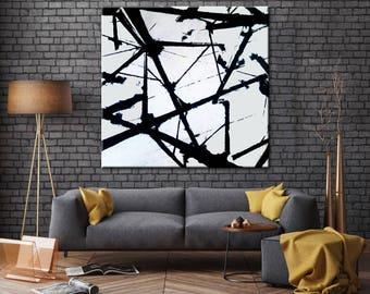 Black and White Art, Oil Large Art, Palette knife, Canvas Painting, Original Art, Oversize art, Black and White wall art, Painting abstract