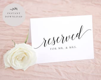 Reserved Table Card Etsy - Reserved place card template