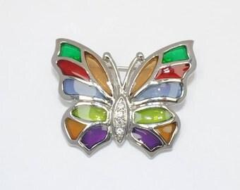 Brooch - epoxy - Butterfly - colorful - vintage stained glass - was - epoxy women brooch - rhinestone brooch