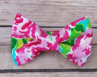 Rose Dog Bow Tie / Turquoise Cat Bow Tie / Floral Dog Bow Tie / Girl Dog Bow Tie / Pink Dog Bow Tie /  Bow Tie  / Collar Bow Tie