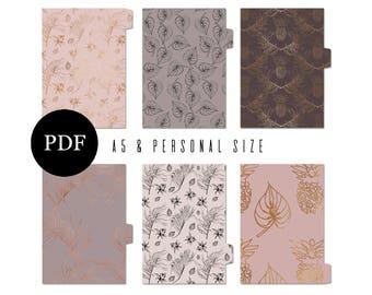 Planner Dividers, A5 and Personal Printable Dividers, Pink, Mauve & Gold, Inserts, Digital Print, Download, Filofax, Kikki K, Rose Gold