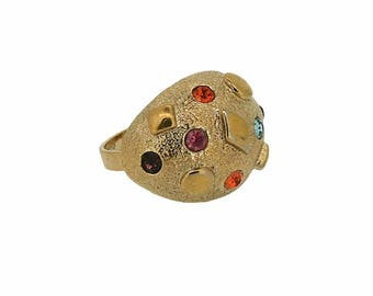Sarah Coventry 1960s Pastel Rhinestone Statement Vintage Ring