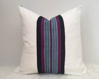 Aarin - Indigo Blue, White & Purple Striped Vintage African Cloth Aso-Oke Pillow, High Quality Italian Linen Back Fabric, Mud Cloth Style