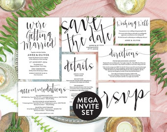 Wedding invitation set template wedding invitation, Printable wedding invitation set, Rustic save the date template, Wedding details card