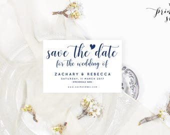 Navy save the date template, Editable pdf, Rustic save the date template, Printable save the date download,  #AOR1024