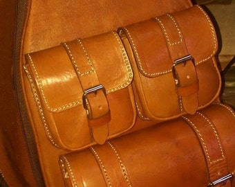 Distinctive and luxurious Ukulele  leather case with three pockets - Your music is unique, your case too.