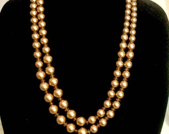 Vintage 80s Xtra-Long Strand of Gold Pearls   GJ2907