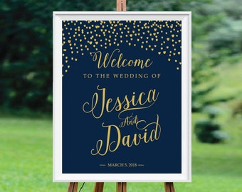 Personalized, DIY Printable, Gold Confetti, Wedding Welcome Sign, Navy Blue, Navy and Gold, Modern Wedding Sign - US_WS0205