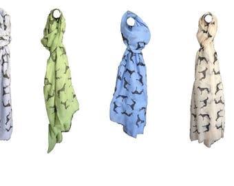 5 Colours Soft Cotton Scarf of Whippet, Greyhound, Italian Greyhound, Saluki, Sighthound, Lurcher, Dog Print Gift Unusual