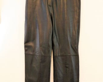 Sand Wood Black Real Soft Leather Trousers Size UK 12/Retro Leather Trousers/Vintage Leather Trousers/1990s Leather Trousers