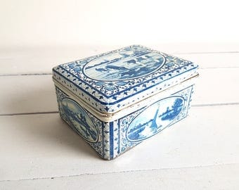 Vintage Dutch tin 'Delfts blue'