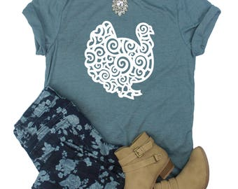 Swirl Turkey Shirt / Turkey Shirt / Fall Shirt / Thanksgiving Shirt / Cute Turkey Thanksgiving Top