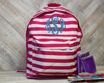 Personalized Pink and White Stripe Backpack